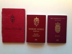 Norsk pass anno 1941 og 2015 samt et dansk pass anno 2013